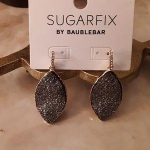 Silver faux Druzy Teardrop Dangle Earrings